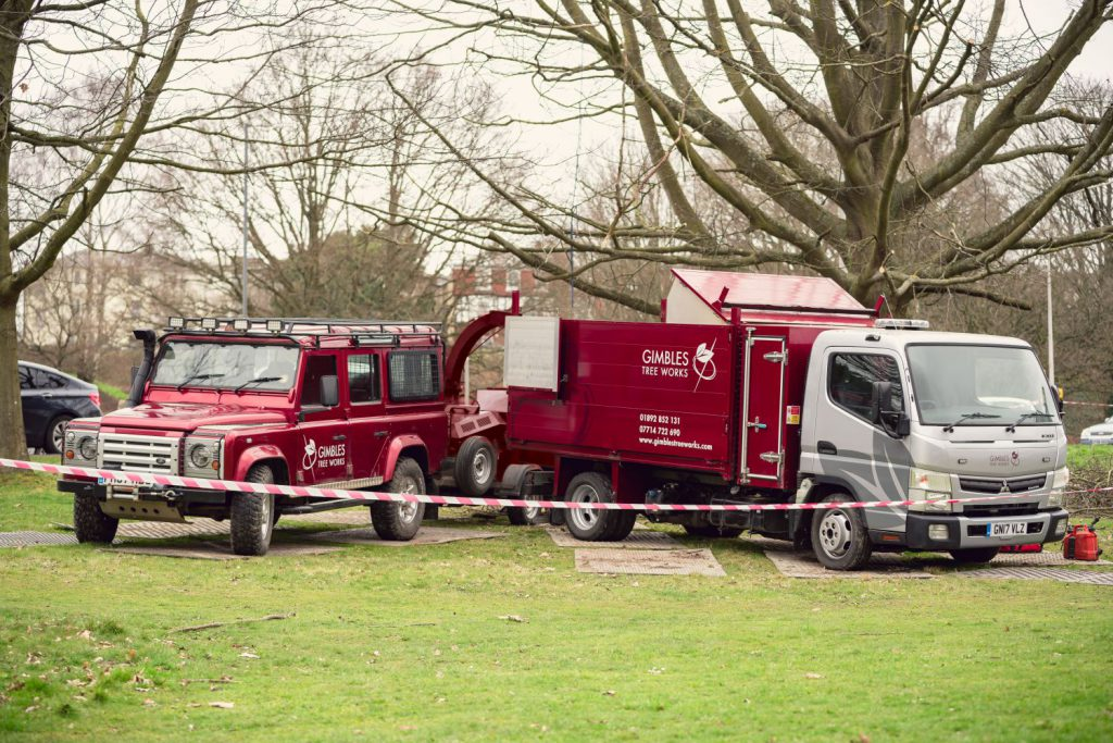 Gimbles Tree Works vans and equipment on a commercial job at Tunbridge Wells Common