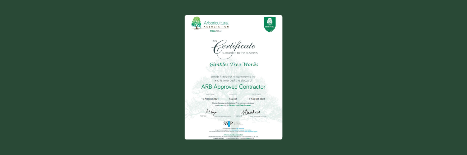 ARB approved contractor certificate 2021
